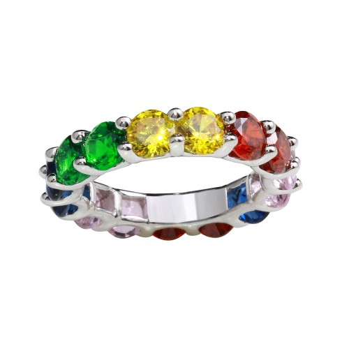 Wholesale Sterling Silver 925 Sterling Silver Rhodium Plated Multi-Colored Round CZ Stone Ring - GMR00269RBC