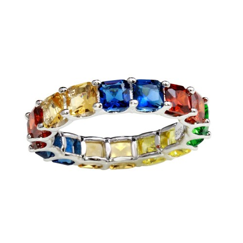Wholesale Sterling Silver 925 Rhodium Plated Multi-Colored Square CZ Stone Ring - GMR00270RBC