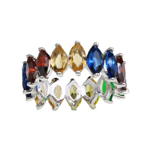 Wholesale Sterling Silver 925 Rhodium Plated Multi-Colored Oval CZ Stone Ring - GMR00271RBC