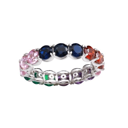 Wholesale Sterling Silver 925 Rhodium Plated Multi-Colored Round CZ Stone Ring - GMR00272RBC
