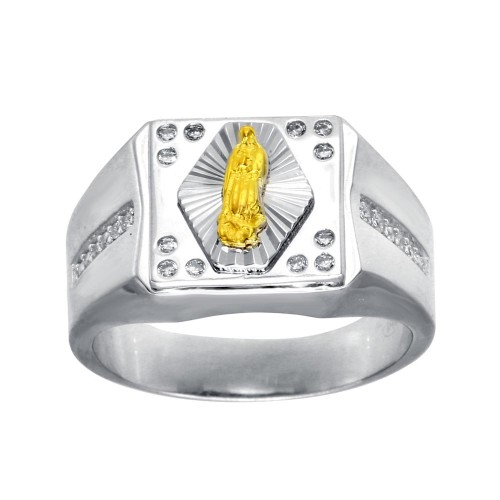 Wholesale Men's Sterling Silver Rhodium Plated CZ Guadalupe Ring - GMR00274RG