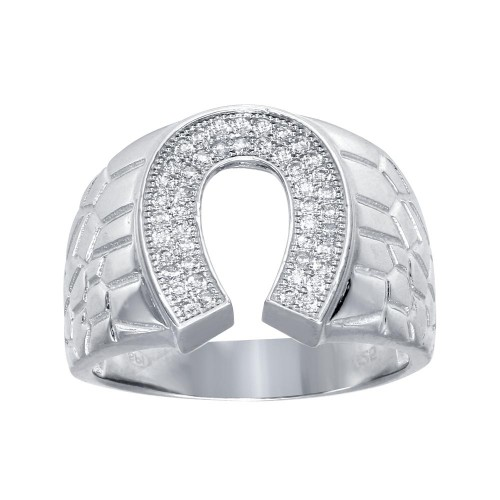Wholesale Men's Sterling Silver Rhodium Plated Horse Shoe CZ Ring - GMR00275