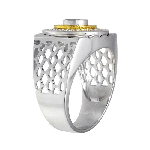 Wholesale Men's Sterling Silver 2 Toned Circle Design CZ Ring - GMR00276RG