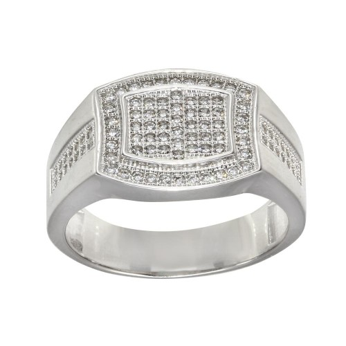 Wholesale Men's Sterling Silver Rhodium Plated Micro Pave Rectangle Shape CZ Ring - GMR00277