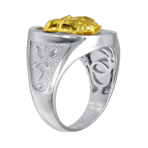 Wholesale Men's Sterling Silver 2 Toned CZ Horse Shoe Gold Horse Ring - GMR00278RG