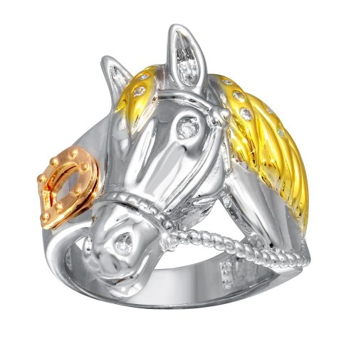 Wholesale Men's Sterling Silver 3 Toned CZ Rope Horse Ring - GMR002793C