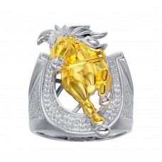 Wholesale Men's Sterling Silver 2 Toned CZ Horse Shoe Gold Horse Ring - GMR00281RG