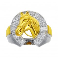 Wholesale Men's Sterling Silver 2 Toned CZ Horse Shoe Gold Horse Ring - GMR00282RG