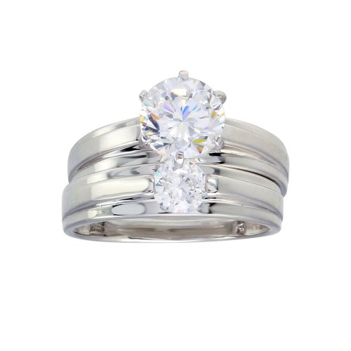 Wholesale Sterling Silver 925 Rhodium Plated Round CZ Stone Bordered Trios Ring - GMR00283