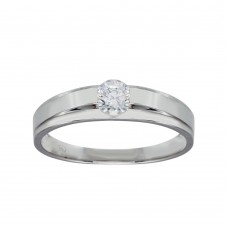 Wholesale Sterling Silver 925 Rhodium Plated Round CZ Stone Bordered Ring - GMR00284