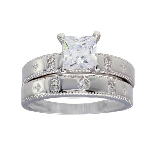 Wholesale Sterling Silver 925 Rhodium Plated Square CZ Cross Shank Design Ring - GMR00285