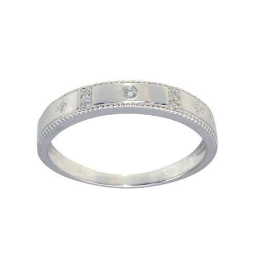 Wholesale Sterling Silver 925 Rhodium Plated Round CZ Cross Shank Design Ring - GMR00286