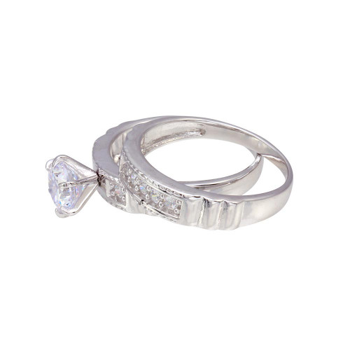 Wholesale Sterling Silver 925 Rhodium Plated Round CZ Trios Ring - GMR00287