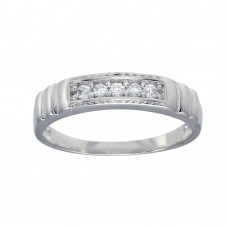 Wholesale Sterling Silver 925 Rhodium Plated Round CZ Stone Bordered Ring - GMR00288