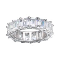 Wholesale Sterling Silver Emerald Cut CZ Eternity Band Ring - GMR00289