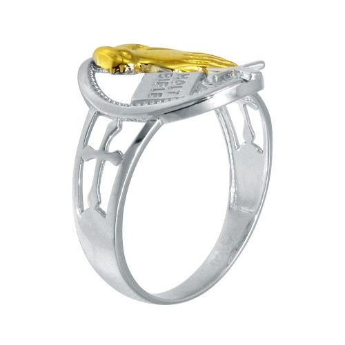 Wholesale Sterling Silver 925 2 Toned Plated Praying Hand with Cross Ring - GMR00292RG