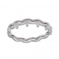 Wholesale Sterling Silver 925 Rhodium Plated Wave CZ Double Band - GMR00293
