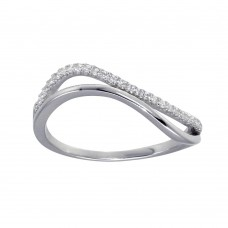 Wholesale Sterling Silver 925 Rhodium Plated Double Wave CZ Ring - GMR00294