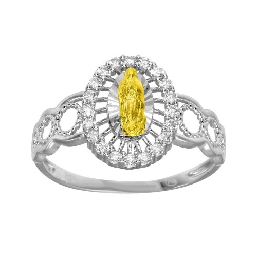 Wholesale Sterling Silver 2 Toned Lady of Guadalupe Open Circle Shank Ring - GMR00295RHR
