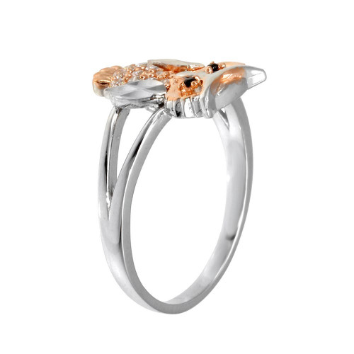 Wholesale Sterling Silver CZ Diamond Cut 2 Toned Owl Ring - GMR00298RHR