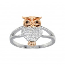 Wholesale Sterling Silver CZ 2 Toned Owl Ring - GMR00299RHR