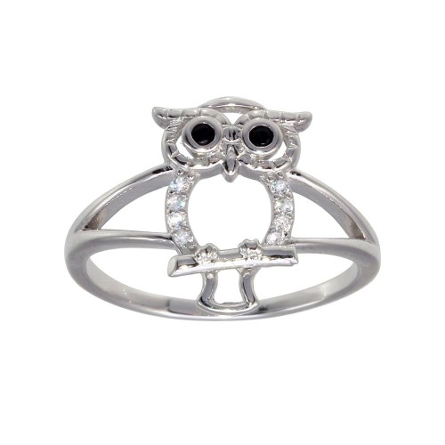 Wholesale Sterling Silver Rhodium Plated Owl Ring - GMR00300