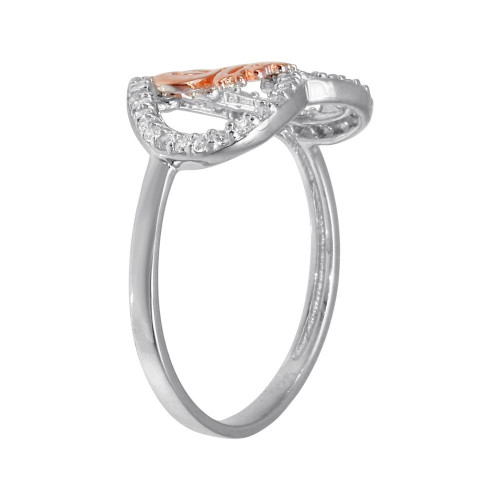 Wholesale Sterling Silver CZ Quinceanera Heart 2 Toned Ring - GMR00301RHR