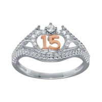 Wholesale Sterling Silver CZ Quinceanera Flower 2 Toned CZ Ring - GMR00302RHR
