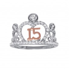 Wholesale Sterling Silver CZ Quinceanera Tiara 2 Toned Ring - GMR00303RHR