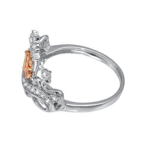 Wholesale Sterling Silver CZ Quinceanera Crown 2 Toned Ring - GMR00307RHR