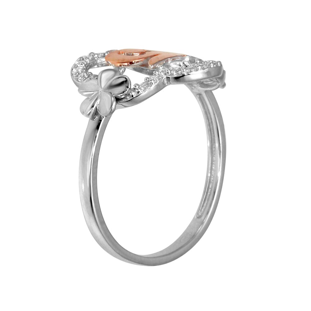 Wholesale Sterling Silver CZ Quinceanera Flower 2 Toned Ring - GMR00305RHR