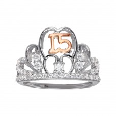 Wholesale Sterling Silver CZ Quinceanera Tiara 2 Toned Ring - GMR00306RHR