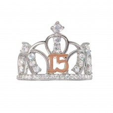 Wholesale Sterling Silver CZ Quinceanera Crown 2 Toned Ring - GMR00304RHR