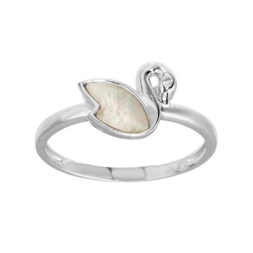 Wholesale Sterling Silver CZ Swan Synthetic Mother of Pearl Ring - GMR00308