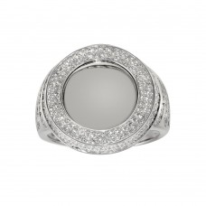 Wholesale Sterling Silver 925 Rhodium Plated Round CZ Mirror Disc Ring - GMR00309