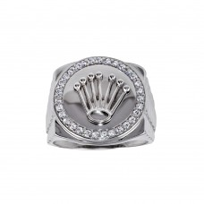 Wholesale Sterling Silver 925 Rhodium Plated Disc Crown CZ Ring - GMR00310