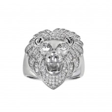 Wholesale Sterling Silver 925 Rhodium Plated Lion CZ Ring - GMR00311