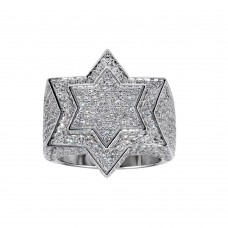 Wholesale Sterling Silver 925 Rhodium Plated Star CZ Ring - GMR00312