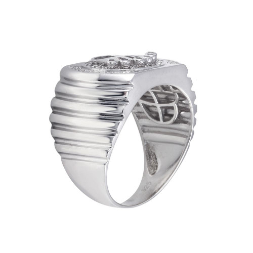Wholesale Sterling Silver 925 Rhodium Plated Crown Disc Ring - GMR00313