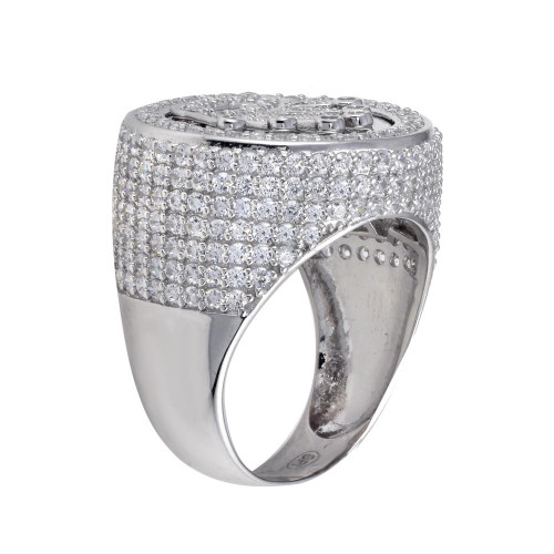 Wholesale Sterling Silver 925 Rhodium Plated Crown CZ Ring - GMR00315