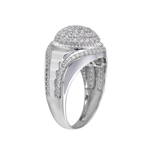Wholesale Sterling Silver 925 Rhodium Plated Dome CZ Ring - GMR00316