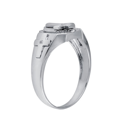 Wholesale Sterling Silver 925 Rhodium Plated Cross CZ Ring - GMR00318