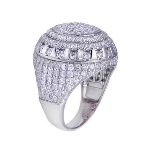 Wholesale Sterling Silver 925 Rhodium Plated Dome CZ Hip Hop Ring - GMR00320