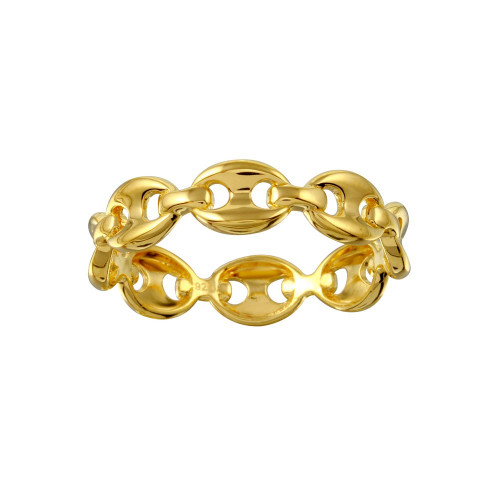 Wholesale Sterling Silver 925 Gold Plated Puff Mariner Design Link Ring - GMR00321GP