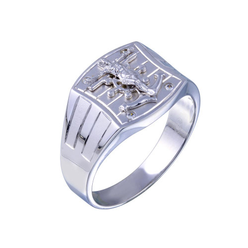 Wholesale Sterling Silver 925 Rhodium Plated Crucifix Anchor CZ Hip Hop Ring - GMR00326