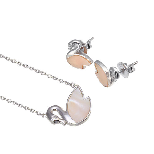 Wholesale Sterling Silver 925 Rhodium Plated Synthetic Mother of Pearl Swan Set - GMS00028