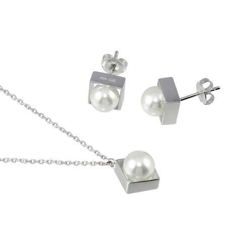 Wholesale Sterling Silver 925 Boxed Synthetic Pearl with CZ Set - GMS00029
