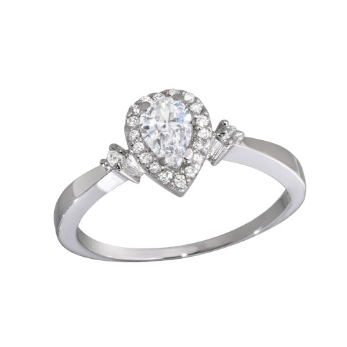 Wholesale Sterling Silver 925 Rhodium Plated Small Teardrop CZ Ring - GSR00001