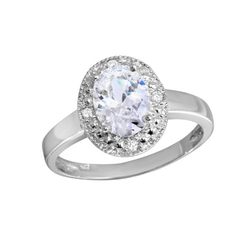 Wholesale Sterling Silver 925 Rhodium Plated Oval CZ Ring - GSR00002