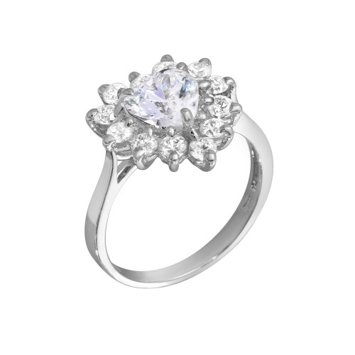 Wholesale Sterling Silver 925 Rhodium Plated CZ Heart Flower Ring - GSR00003